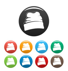 Beanie hat icons set color vector