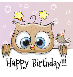Birthday card with owl vector