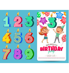 birthday numbers candle with cute kids vector image