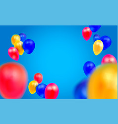 birthday template with balloons on blue background vector image