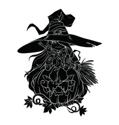 black silhouette of a witch on a pumpkin on a vector image