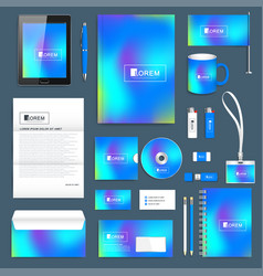 blue business set of corporate identity vector image