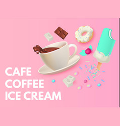 cafe ad design template coffee sweets and ice vector image