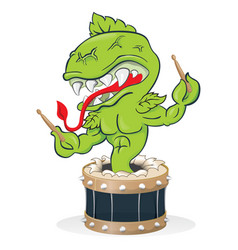 Carnivorous plant with drum and drumsticks vector