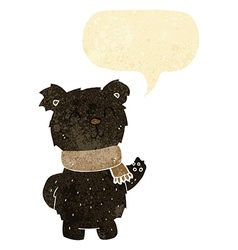 cartoon waving black bear with speech bubble vector image