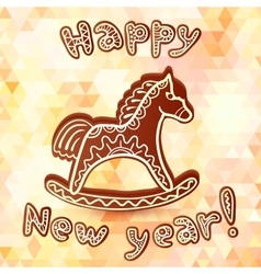 Chocolate horse new year greeting card vector image
