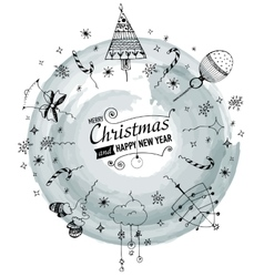 Christmas and New year Card with designed text vector image