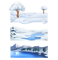 Christmas background Winter landscape 3d banner vector image
