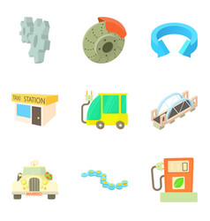 Clean fuel icons set cartoon style vector