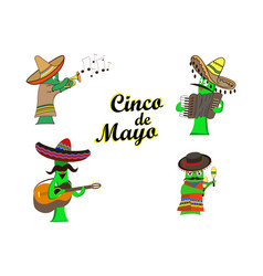 concept on cinco de mayoa set of characters in vector image