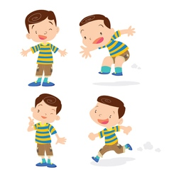 Cute boy character cartoon action vector image