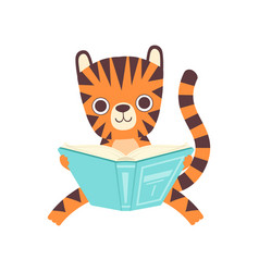cute smart little tiger sitting and reading book vector image