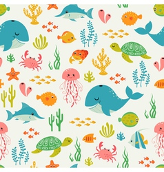 Cute underwater life pattern vector image