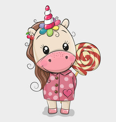 Cute unicorn in coat and with lollipop vector