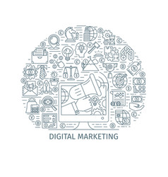 digital marketing thin line concept vector image