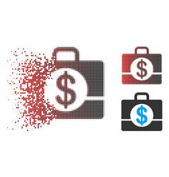Disintegrating dot halftone accounting case icon vector