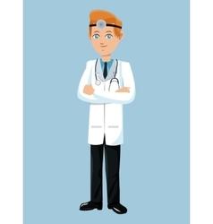 Doctor standing wearing head-mirror vector