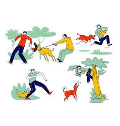 Dog attack concept aggressive animals biting vector
