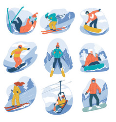 extreme winter sports and activities in wintertime vector image