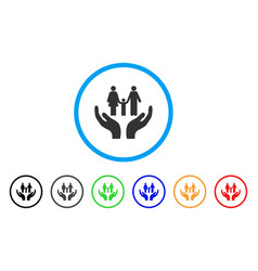 family care hands rounded icon vector image