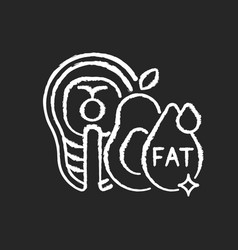 Fats chalk white icon on black background vector