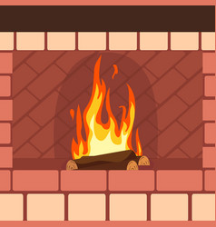 fireplaces wooden and stone decoration design vector image