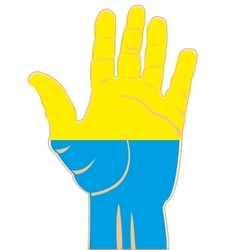 Flag of the ukraine on palm vector