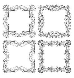 floral filigree frames set decorative square vector image