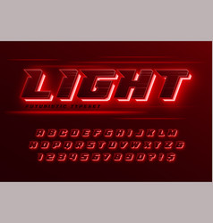 Futuristic dynamic alphabet extra glowing space vector