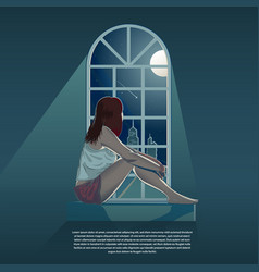 Girl looking out through window at night vector