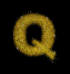 Gold dust font type letter q vector