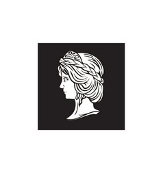 greek myth woman god goddess head sculpture logo vector image