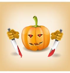 Halloween background with killer pumpkin vector