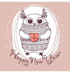 Hand drawn with cute eagle owl Happy New Year card vector
