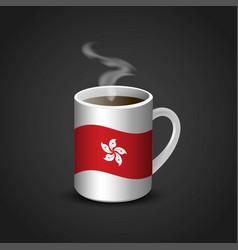 Hong kong flag printed on hot coffee cup vector