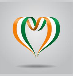 Ivorian flag heart-shaped ribbon vector