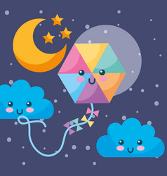 kawaii kite clouds moon stars night sky vector image