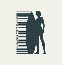 Lady posing with surfboard vector