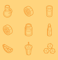 lemonade outline isometric set vector image