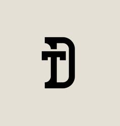 letter d and t logo design minimalistic monogram vector image