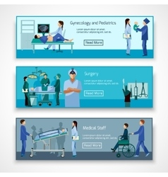Medical professionals at work banners set vector