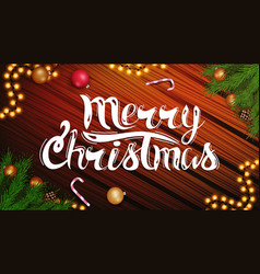 merry christmas beautiful postcard with lettering vector image