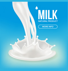 Milk splash cream liquid isolated vector