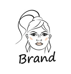 modern beauty and face a beautiful woman logo vector image