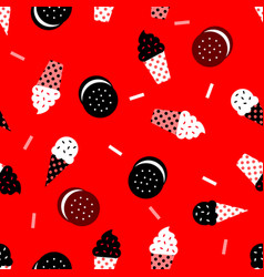 new ice cream pattern with biscuit vector image