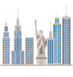 New york city statue of liberty scene vector