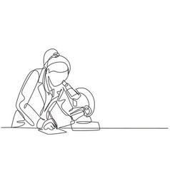 one continuous line drawing female scientist vector image