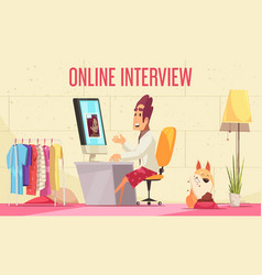 Online job interview background vector