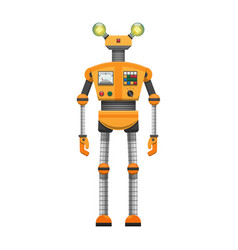orange robot with big artificial eyes isolated on vector image