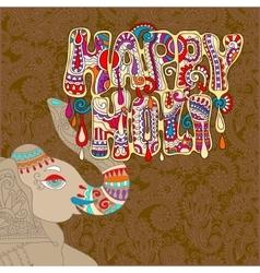 Original Happy Holi design with head elephants on vector